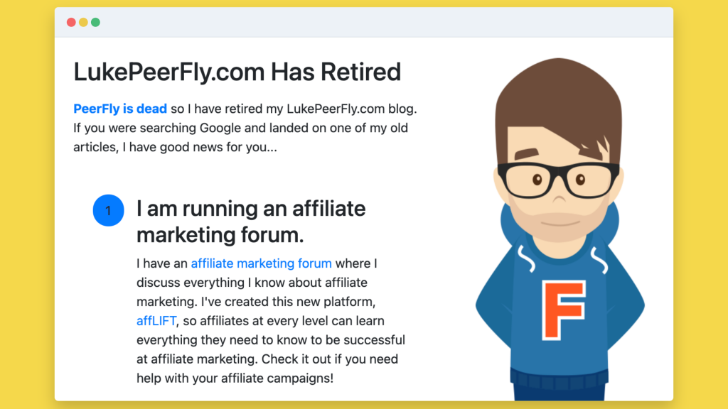What LukePeerFly.com looked like after retirement.